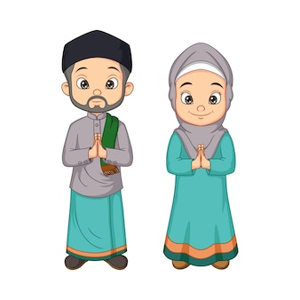 Homem e mulher muçulmanos de desenho animado cumprimentando salaam
