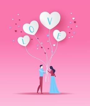 Homem e mulher na data segurando coração branco em forma de balões dia dos namorados design ilustrador vetorial.