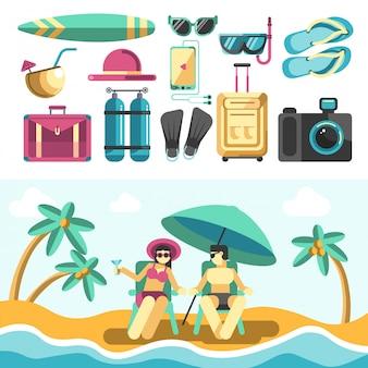Homem e mulher na praia e conjunto de coisas de férias