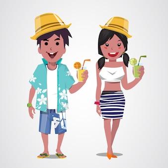 Homem e mulher na praia. verão. mar. período de férias..