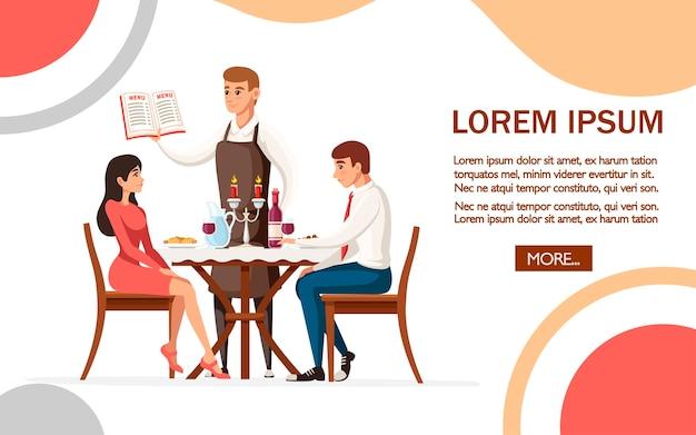 Homem e mulher namorando em restaurante