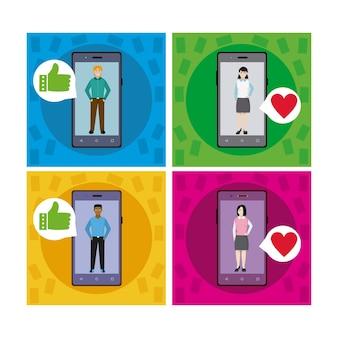 Homem e mulher namoro aplicativo para smartphone