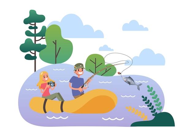 Homem e mulher no barco pesqueiro de borracha