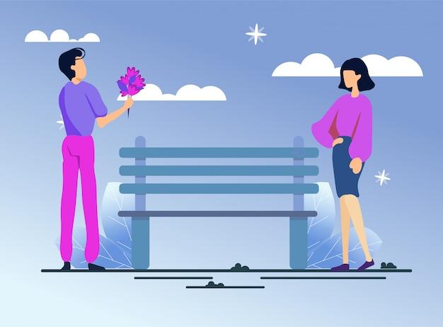 Homem e mulher no encontro romântico no parque à noite