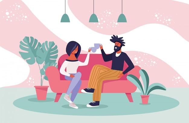 Homem e mulher no sofá tinindo xícara de chá dos desenhos animados