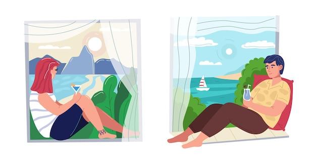 Homem e mulher olhando e bebendo coquetéis em paisagens de verão da janela