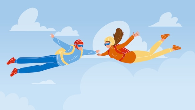 Homem e mulher paraquedistas skydive in air