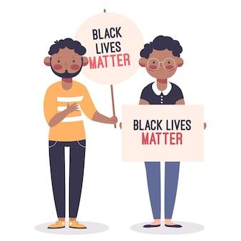 Homem e mulher participando das vidas negras importam protesto