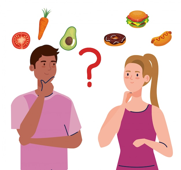 Homem e mulher pensando o que comer