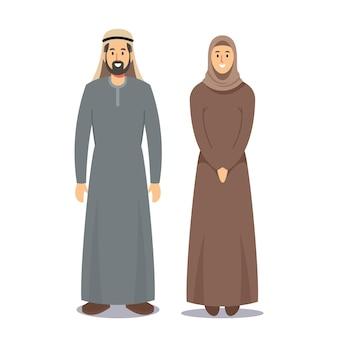 Homem e mulher povos árabes. personagem masculino árabe barbudo vestido com traje nacional cinza tradicional e menina em marrom hijab isolado no fundo branco. ilustração em vetor desenho animado