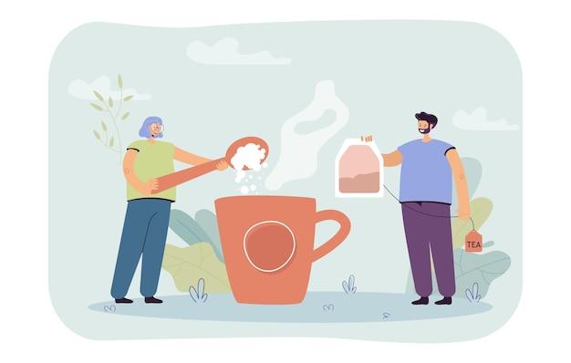Homem e mulher preparando uma enorme xícara de chá. ilustração plana