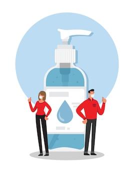 Homem e mulher recomendando o uso de gel desinfetante para as mãos