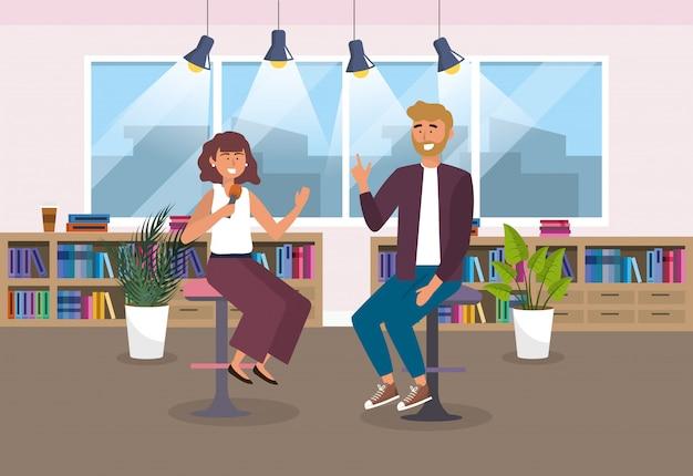 Homem e mulher repórter no estúdio com luzes e plantas