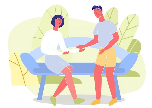 Homem e mulher reunião no parque verde dos desenhos animados