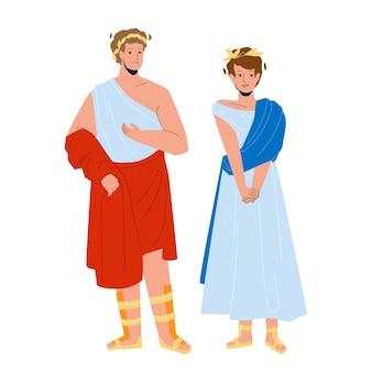 Homem e mulher romanos no vetor de roupas tradicionais. legionário romano e senhora cidadã vestindo roupas nacionais ficarem juntos. personagens de roma pessoas, menino e menina, ilustração plana dos desenhos animados