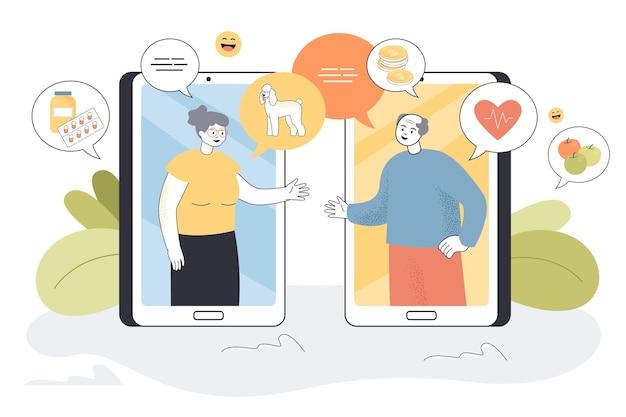 Homem e mulher se comunicando online, usando telefones celulares. ilustração plana