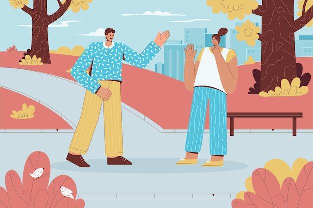 Homem e mulher se encontrando no parque da cidade expressando sentimentos positivos ou negativos