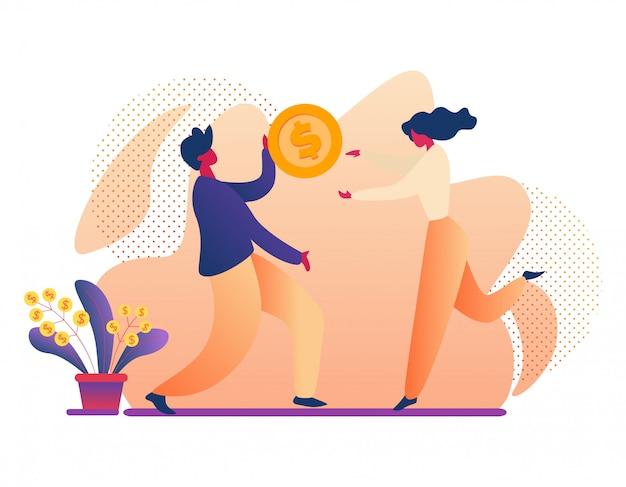 Homem e mulher segurando a moeda enorme de dólar de ouro.