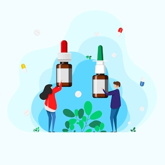 Homem e mulher segurando gotas nasais e spray para facilitar a respiração durante alergias e doenças. conceito otorrinolaringologia tratamento rinite, alergias