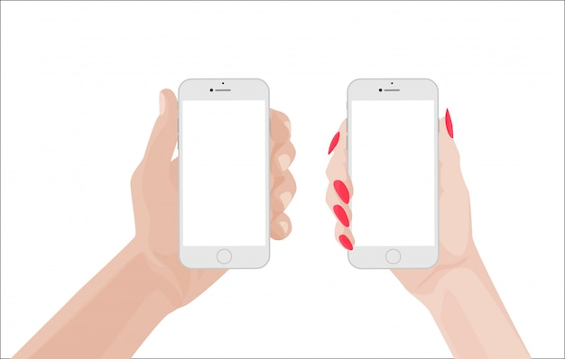 Homem e mulher segurando smartphone branco