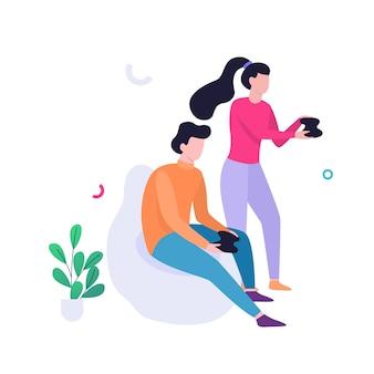Homem e mulher segurando um joystick e jogando videogame