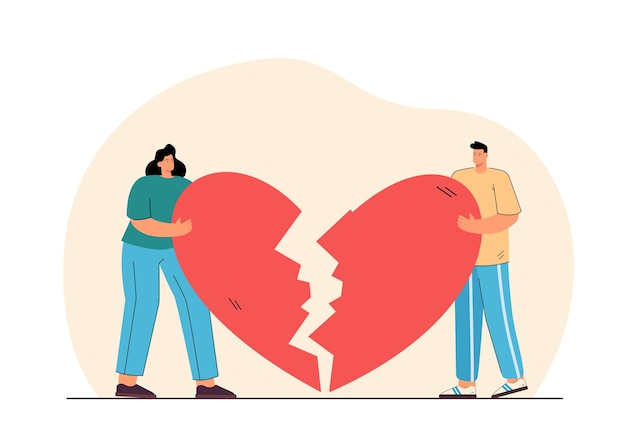 Homem e mulher segurando uma ilustração plana de coração partido