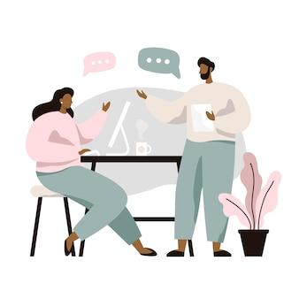 Homem e mulher sentada à mesa e discutir idéias, trocando informações, resolvendo problemas. brainstorm ou discussão. trabalho em equipe.