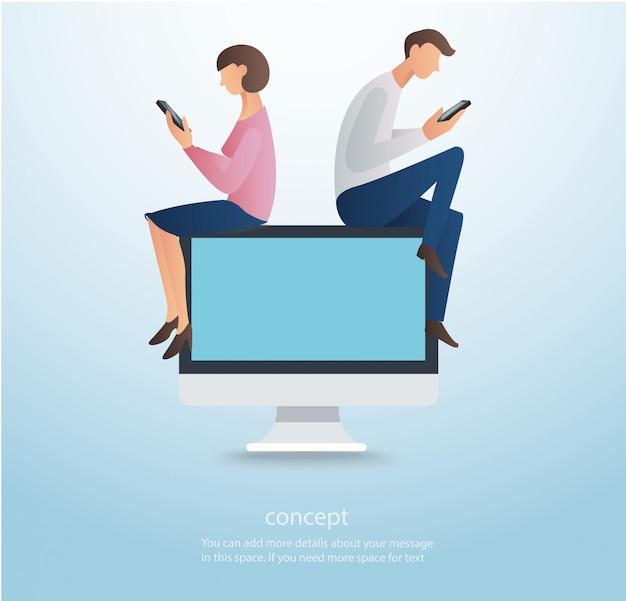 Homem e mulher sentada no vetor de computador
