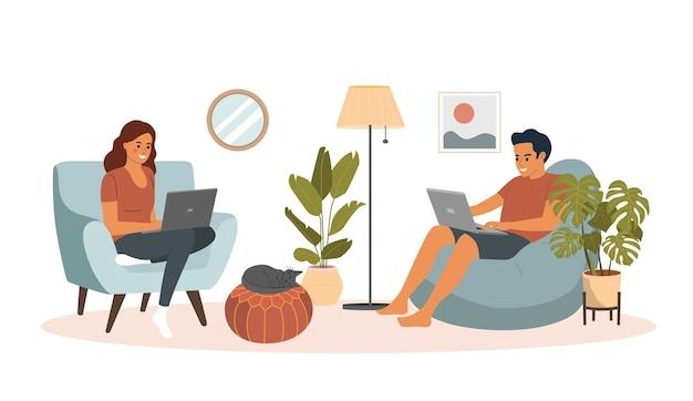 Homem e mulher sentados no sofá e na cadeira com laptops. ilustração vectort