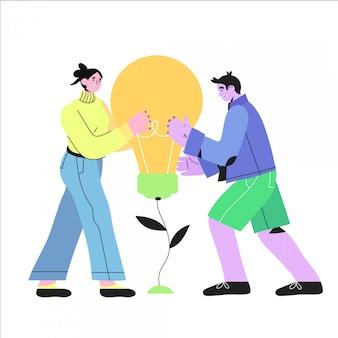 Homem e mulher sorridente segurando a lâmpada. conceito de idéia.