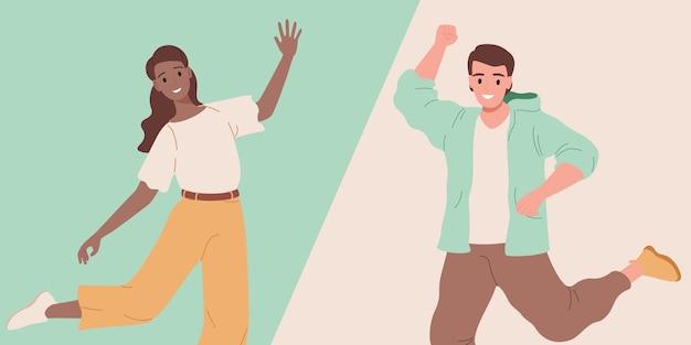 Homem e mulher sorrindo felizes dançando ilustração
