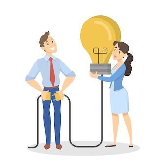Homem e mulher têm uma ótima ideia. pessoas em pé e segurando uma lâmpada grande. a lâmpada como metáfora da ideia. ilustração