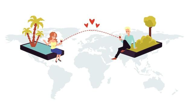 Homem e mulher têm uma relação romântica virtual uma ilustração