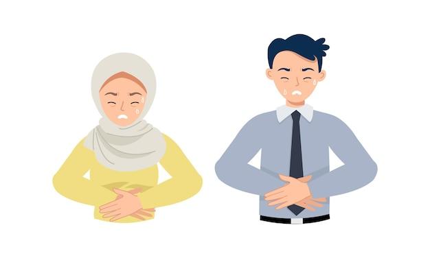 Homem e mulher tocam o estômago enquanto sentem dor por causa da fome ou dor de estômago.