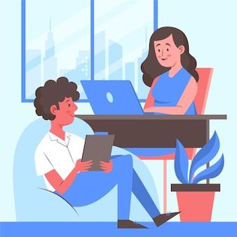 Homem e mulher trabalhando em espaço de coworking