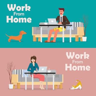 Homem e mulher trabalhando em um laptop em casa