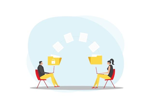 Homem e mulher transmitem pastas com arquivos. documentos transferidos