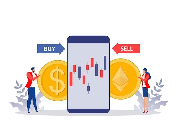 Homem e mulher trocam comprar e vender moeda ethereum preço com moeda de dólar. projeto de conceito de ilustração vetorial plana.