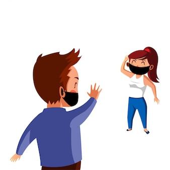 Homem e mulher usam máscara fazem distanciamento físico no novo normal