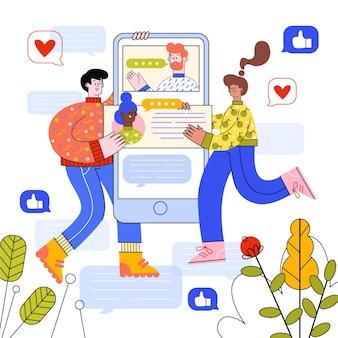 Homem e mulher usando diferentes dispositivos de tecnologia