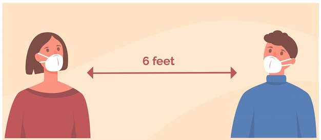 Homem e mulher usando máscara facial a uma distância segura de 2 metros a 2 metros um do outro. distância social.