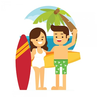 Homem e mulher vão viajar nas férias de verão, feliz casal jovem de surfistas