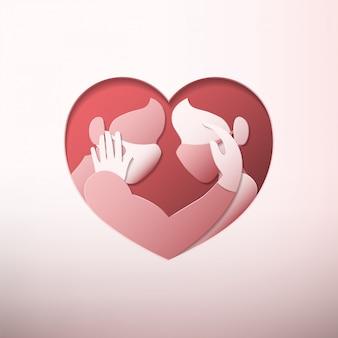 Homem e mulher vestindo máscaras médicas e luvas de borracha dentro de moldura em forma de coração em estilo de arte de papel