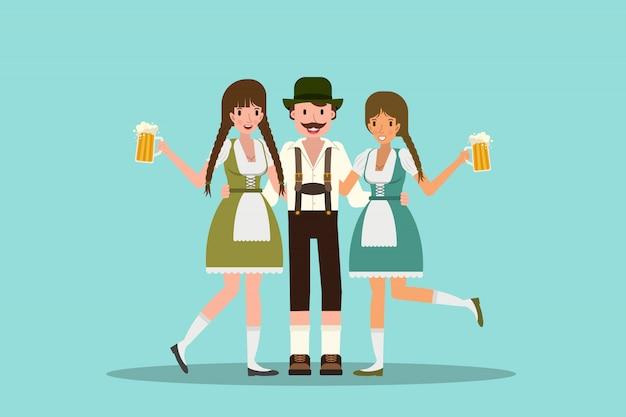 Homem e mulheres abraçando e comemorando a oktoberfest com um copo grande de cerveja. ilustração em design plano.