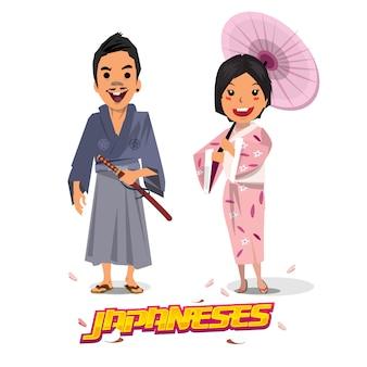 Homem e mulheres japoneses no uniforme tradicional.
