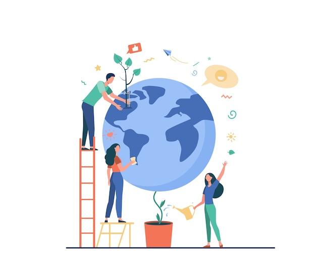 Homem e mulheres protegendo a planta na ilustração vetorial plana globo isolado. pessoas dos desenhos animados, salvando a natureza terrestre. conservação do mundo, eco ciência e meio ambiente