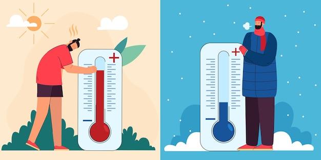 Homem e pessoa suados com roupas quentes de ar livre e termômetros