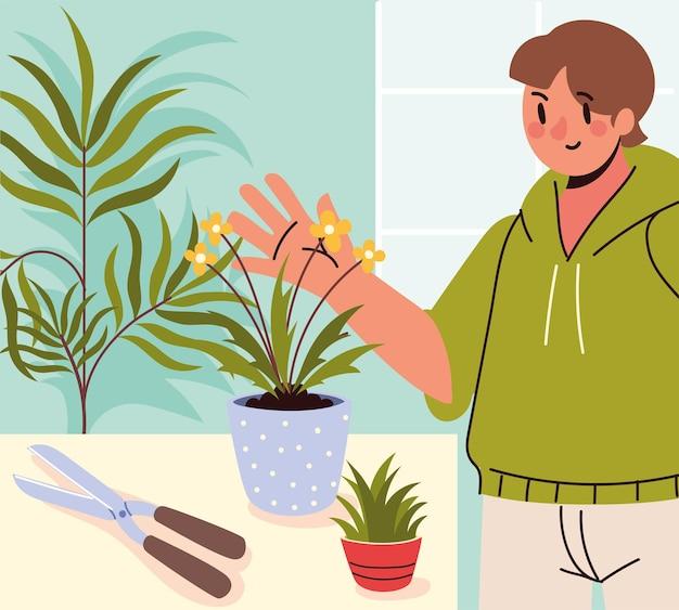 Homem e plantas de casa