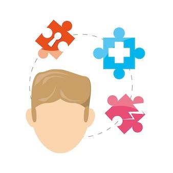 Homem e quebra-cabeça e símbolos dentro