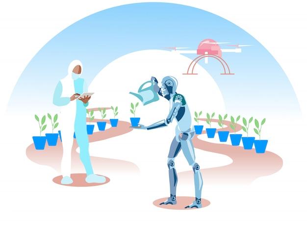 Homem e robô plantando jardim